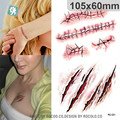 Halloween waterproof temporary tattoos paper for men boy scar wound realistic blood injury flash tattoo sticker RC2251