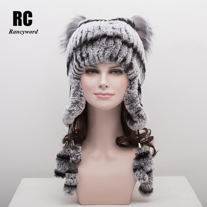 [Rancyword] Warm Winter Fur Hats For Women Lovely Cat Ears Beanies Skullies Female Knitted Real Rex Rabbit Fur Hat Cap RC1268 real mink pom poms wool rabbit fur knitted hat skullies winter cap for women girls hats feminino beanies brand hats bones