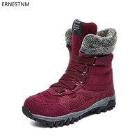 ERNESTNM 2018 Winter Women Shoes Platform Snow Boots Flock Warm Plush Red Shoes  Woman Ankle Boots 77cec80e56a