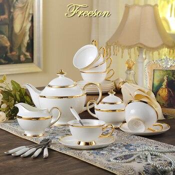 Intarsi in oro Bone China tazza di Caffè Set Britannico di Porcellana Insieme di Tè di Ceramica Tazza Pentola Ciotola di Zucchero Creamer Teiera Teatime Partito Articoli e Attrezzature per Acqua, Caffè, Tè