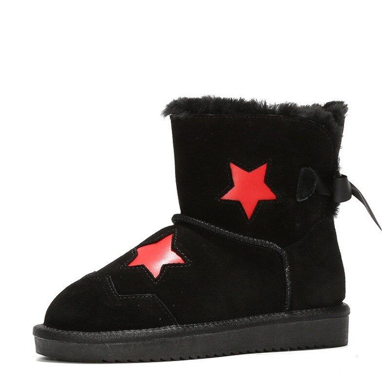 Frauen Schuhe Frauen Warme Schnee Stiefel Frauen Australien Wolle Druck Sterne Mit Riband Winter Warm Glitter Pelz Kurze Stiefeletten Plüsch Wohnungen Stiefel 100% Hochwertige Materialien Schuhe