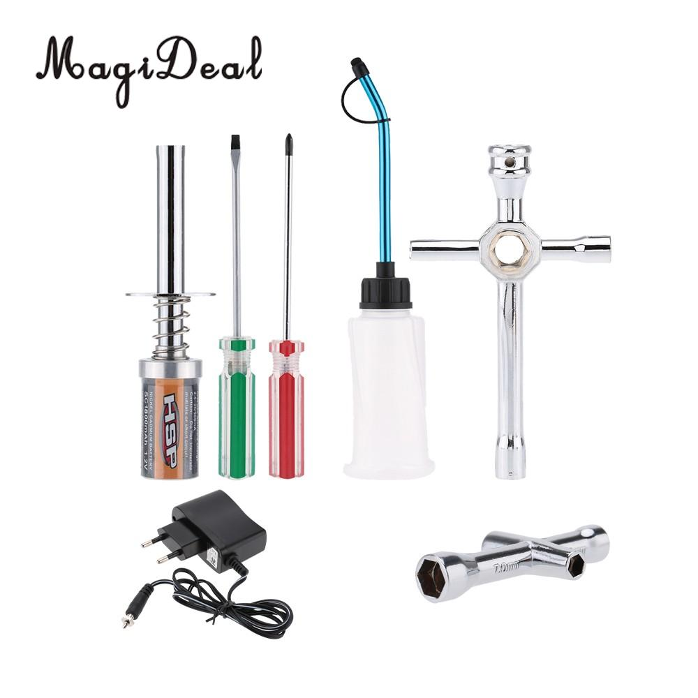 MagiDeal 1Set HSP Nitro RC Car Buggy Truck Starter Kit Glow Plug Igniter with Charger Repair Tool for Nitro Powered 1/8 1/10 hsp 80101 rc 1 8 автомобиля нитро газ двигатель glow starter перезаряжаемый воспламенитель