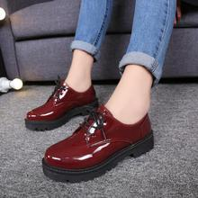 Harajuku Heavy-bottomed Muffins Shoes Patent Leather Flats Casual Shoes Woman Platform Creepers Lace-up Oxford Shoes For Women