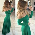 Spring Strapless Dress Long Sleeve Loose Floor Length Sexy Knitting Fashion Party Dress Club Wear Brand Clothing Women
