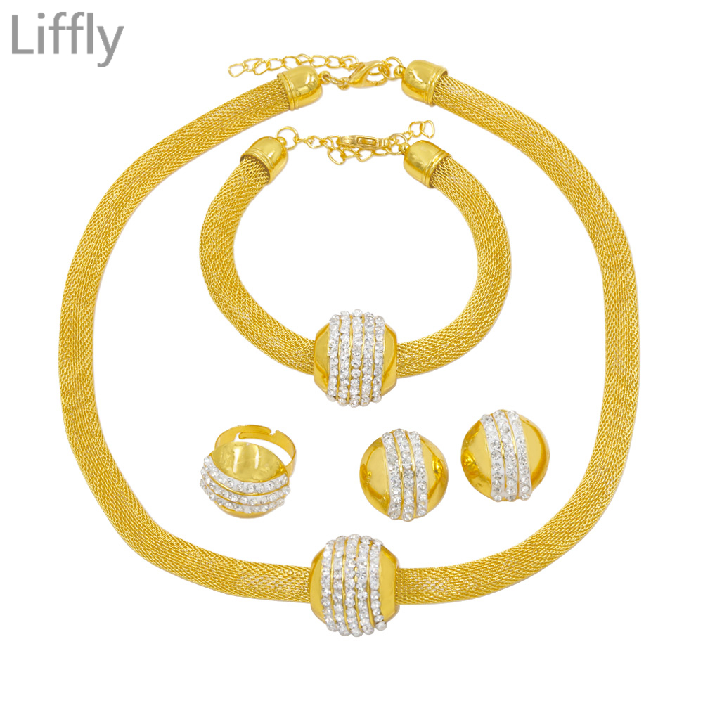 Liffly Simple Choker Fashion Dubai Gold Necklace Bracelet Ring Wedding Jewellery African Crystal Beads Jewelry set  jewellery