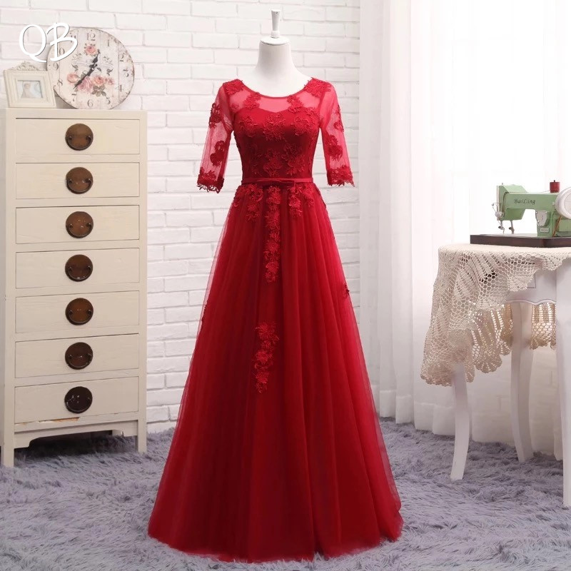 Half Sleeve A line Tulle Lace Evening Dresses Long Formal Elegant Party Dress Wine Red Green
