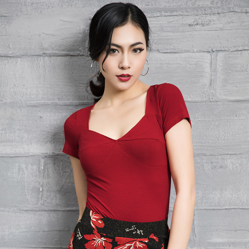 ace9d625a972 2019 New Style Latin Dance Dress Top Costume Summer Short Sleeves V Type  Stage Practice For