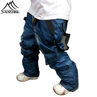 Clearance Sale Skis Trousers Unique Casual Denim Suspenders Ski Jeans Waterproof Breathable Warm Skiing And Snowboarding