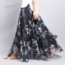 Elegant Summer 2018 Women Long Skirt Chiffon Saia Beach Bohemian Maxi Skirts High Waist Tutu Floor-Length Saia Casual Saia Longa 2015 2 clubwear saia