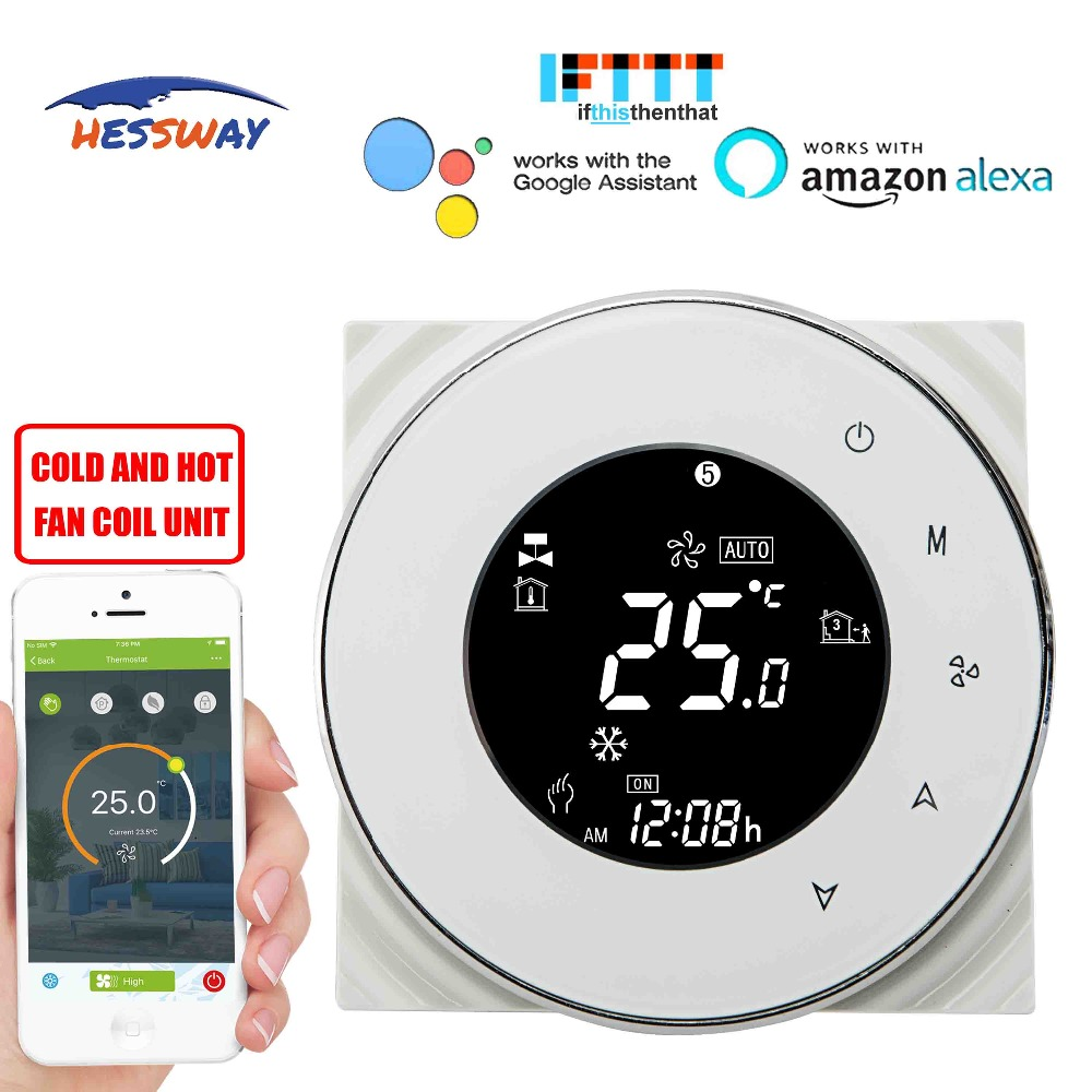 HESSWAY TUYA 2pipe fan coil wifi thermostat temperature controlled for Sensor NTC 10K Works with Alexa Google homeHESSWAY TUYA 2pipe fan coil wifi thermostat temperature controlled for Sensor NTC 10K Works with Alexa Google home