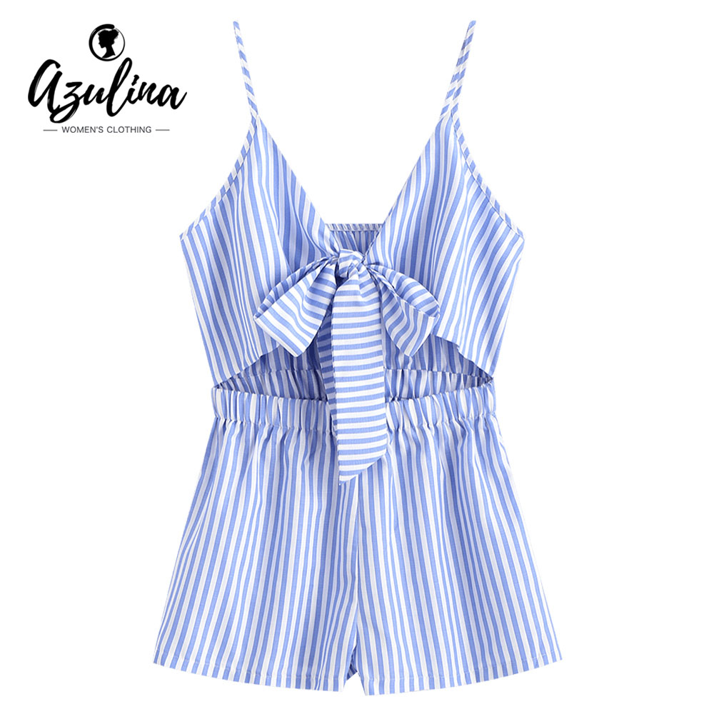 AZULINA Striped Cami Tie Front Romper Cute Plunging Neck Sleeveless Summer Women Jumpsuit Casual Daily Playsuits Ladies Overalls