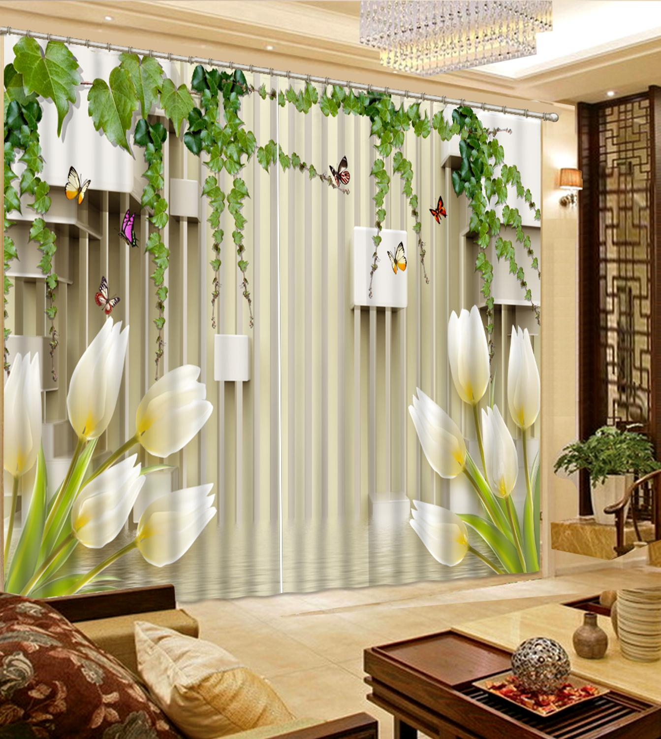 white lily fower curtains 3D Window Curtain Dinosaur print Luxury Blackout For Living Room Decoration curtains in Curtains from Home Garden