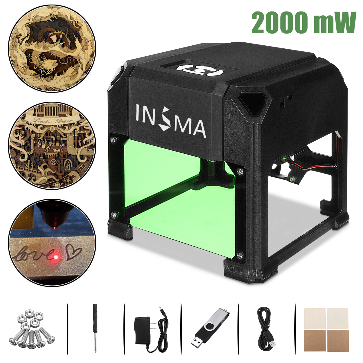 2000 mW CNC Laser Engraver DIY Logo Mark Printer Cutter Laser Engraving Machine Woodworking 80x80mm