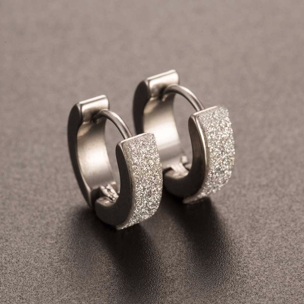 ALIUTOM 2019 New Design1 Pair Cool Punk Men's Stainless Steel Hoop Piercing Round Crystal Earring Ear Stud Men Woman Jewelry