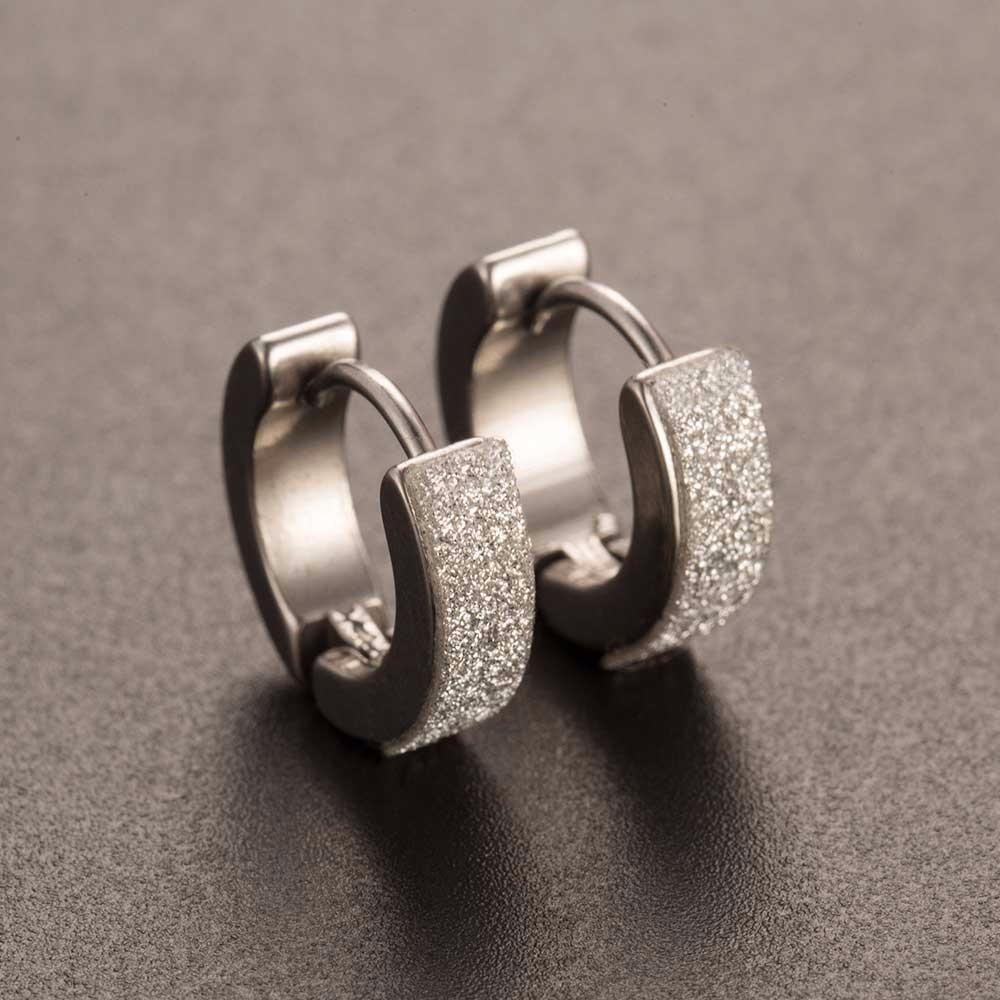 ALIUTOM 2019 New Design1 Pair Cool Punk Men's Stainless Steel Hoop Piercing Round Crystal Earring Ear Stud Men Woman Jewelry