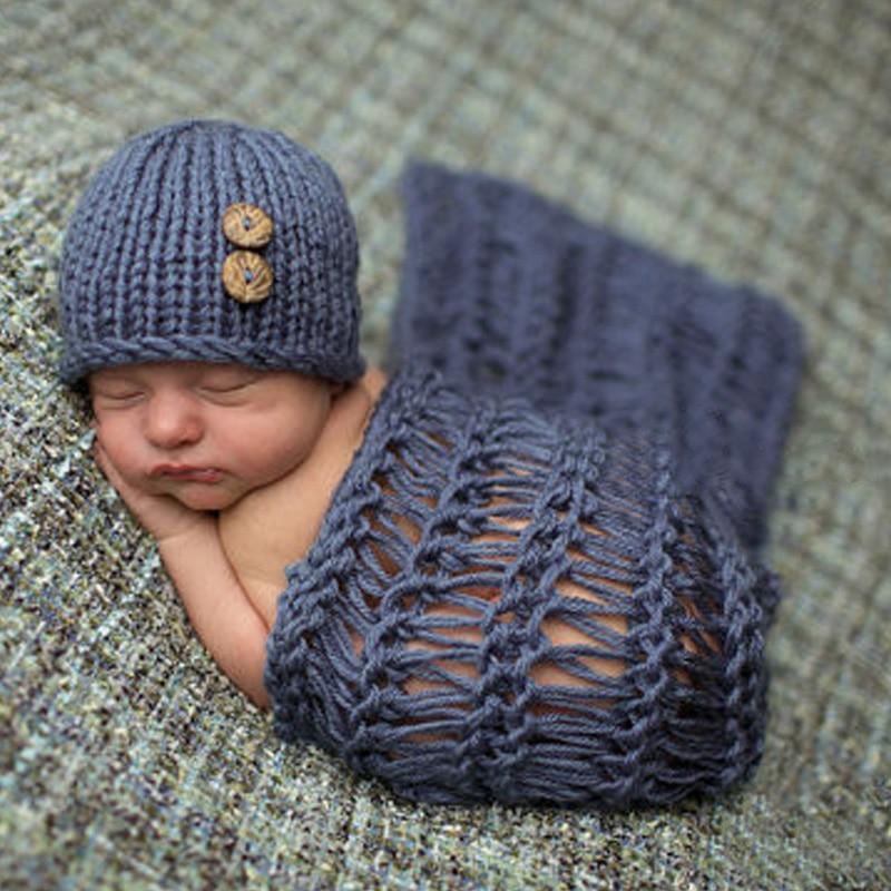 Baby Photo Props Newborn Baby Girls Boys Cotton Crochet Knit Costume Baby Hat Blanket Photo Photography Prop