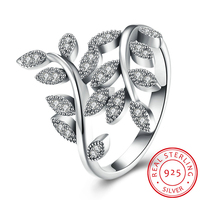 100 Real Solid 925 Sterling Silver Finger Ring Authentic Luxury Olive Branch Wedding Engagement Jewelry For