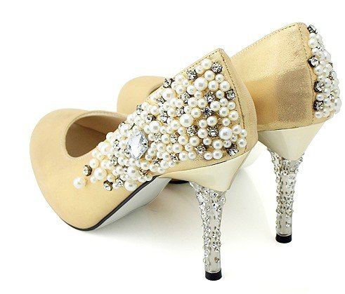 Ln003 Free Shipping Gold Dress Shoes Crystal High Heels