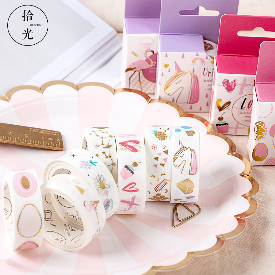 15mmx5m Cute Japanese Foil Glitter Unicorn Flamingo Kawaii Masking Washi Tape Scrapbooking Japanese Stationery School Supplies japanese daiso