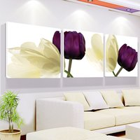 Free Shipping Elegant White Purple Tulip Flowers Still Life Giclee Prints Painting Canvas 3 Pieces Set