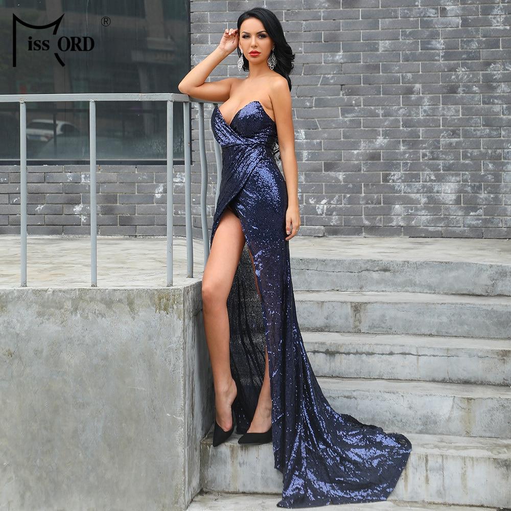 Missord 2019 женский бюстгальтер без рукавов Длинный передний открытый один сплит длинное платье с блестками вечерние блестящее платье Vestdios FT8417