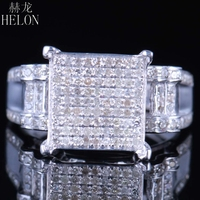 HELON 4Real 925 Silver Sterling 100% Genuine Natural 0.7ct Diamonds Pave Setting Engagement Wedding Fine Jewelry Classic Ring