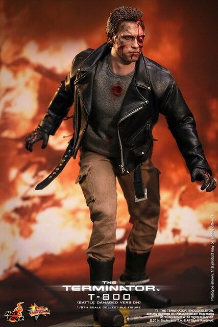 newest e4559 7ba4e Original Hot Toys - The Terminator  1 6 th scale T-800 (Battle Damaged  Version) Collectible Figure Specification Bonecos