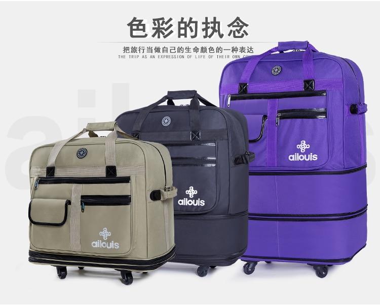 Bagaj ve Çantalar'ten Çek çek valizler'de Seyahat masalı için Gerekli yatılı açık seyahat Büyük hacimli katlanabilir Oxford haddeleme bagaj katlanır arabası bavul'da  Grup 1