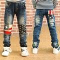 Мода новые 2016 Baby boy джинсы флаг лоскутные джинсы для мальчиков Детские брюки детские джинсы 3-10Y мальчики костюмы J0179