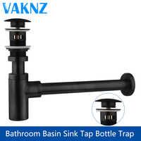 Luxo garrafa armadilha de bronze redonda sifão petróleo friccionada bronze preto P-TRAP vaidade do banheiro bacia tubo resíduos com pop up dreno