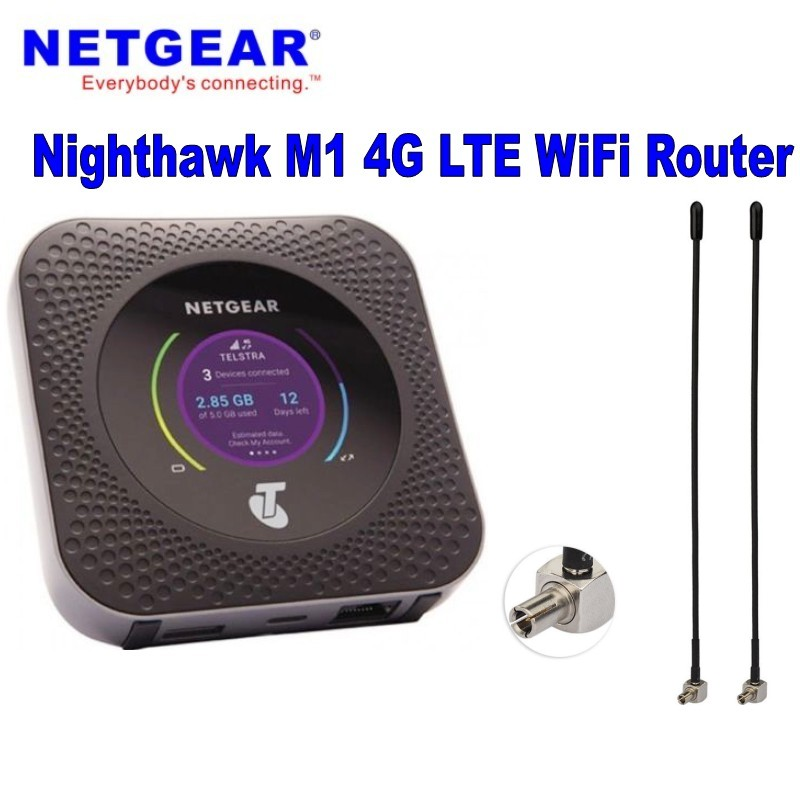 US $252 0 10% OFF|New and unlocked 4g lte 150mbps netgear M1 pocket wifi  netgear MR1100 mobile router Plus 2pcs dual 4g TS9 antenna-in Modems from