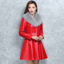 Autumn Winter Fashion Women Fur Collar Cotton Slim Round Leather Coats Jackets
