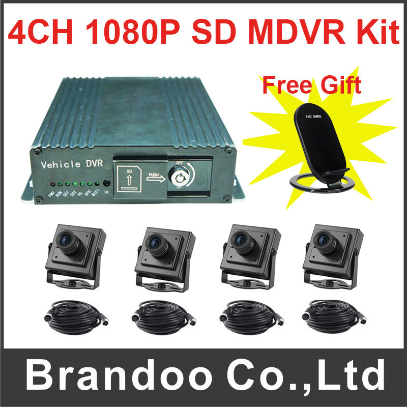 FHD H.265 Mobile Car DVR 4 Channel 1080P SD MDVR Kit Including 4 Cameras Support dual 128GB sd card 4 channel h 265 1080p sd car dvr full hd vehicle digital video recorder support dual 128gb sd auto recording 1920x1080p