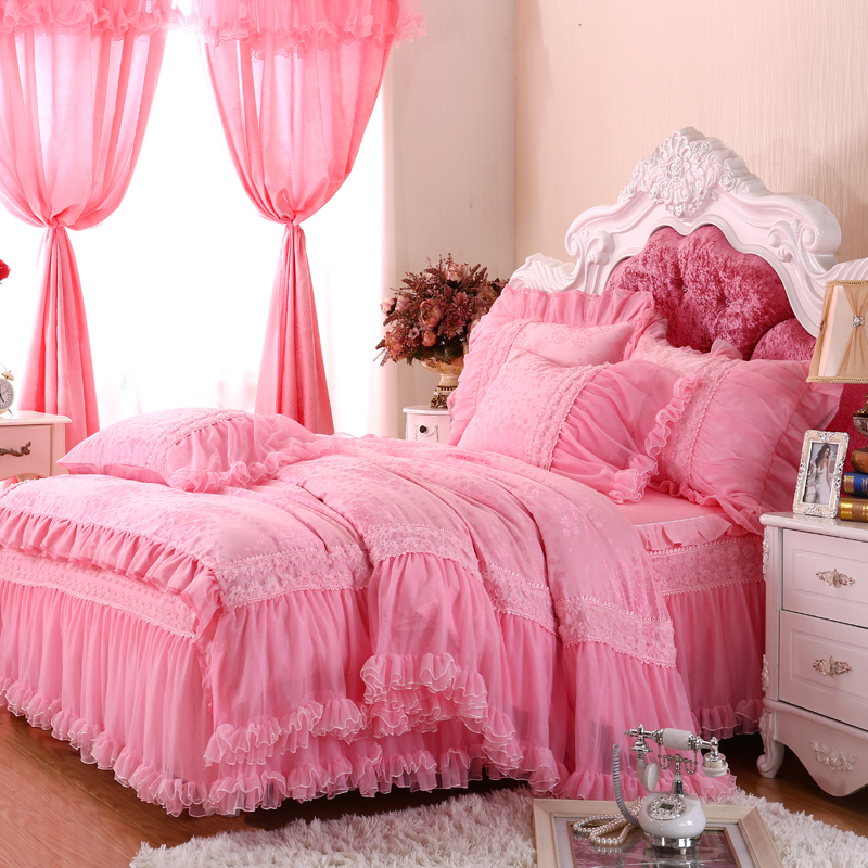 Luxury Princess Pink Bed Set Full Queen Cotton Fairyfair