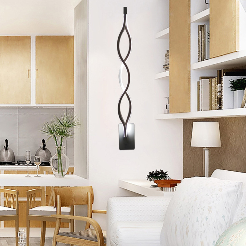 wall lights led wave background tv lamp living mirror fixture bedroom acrylic hallway billow modern aluminum walkway 16w 20w sconce