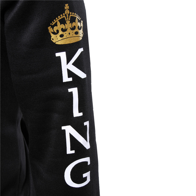 Sweatshirt for Couple Lovers KING Queen Hoodies Crown Print Unisex Men Women Spring Hoodies Slim Winter Letter Hooded Pullovers