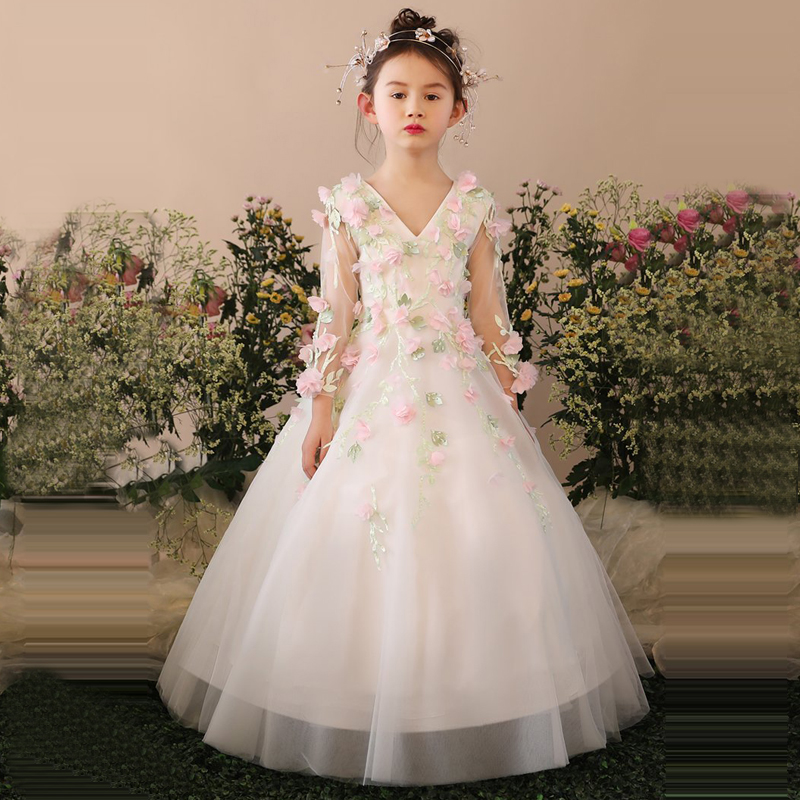 Handmade Flower Girl Dress Luxury Princess Dress Kids Pageant For Wedding Birthday Dress Girl s Holy