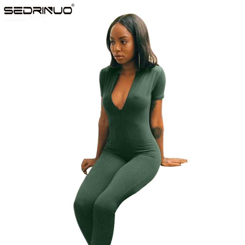 11 11 Sedrinuo 2016 Hot Sale New Fashion Womens Long Green Jumpsuit Sexy Bust Deep V