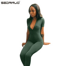 11.11 Sedrinuo 2016 Hot Sale New Fashion Womens Long Green Jumpsuit Sexy Bust Deep V Neck rompers women Bodycon  jumpsuit