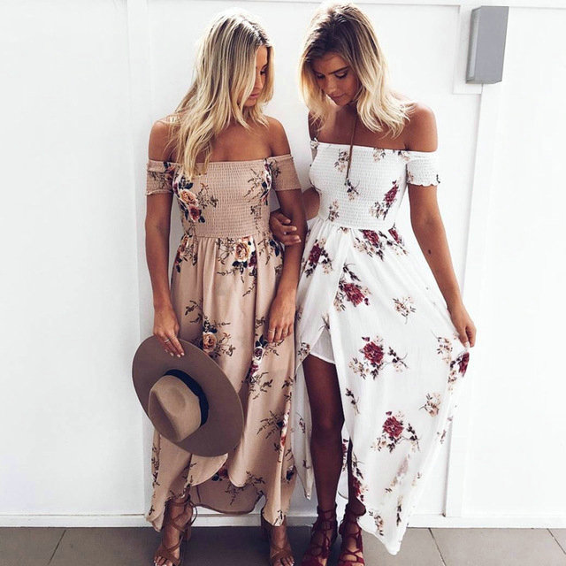 LIVA GIRL boho style long dress women Off shoulder beach summer dresses Floral print chiffon white maxi dress vestidos