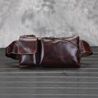 2015 Fashion Retro genuine leather men's waist bag casual real leather messenger bag for men male shoulder bag waist pack