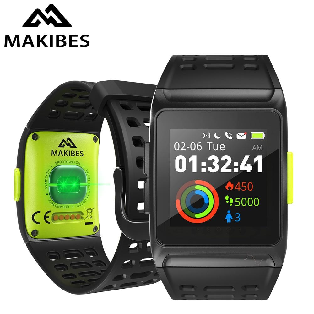 Makibes BR1 GPS hommes femmes montres intelligentes Bluetooth Strava ECG PPG montre-bracelet Fitness Tracker appareils portables bande intelligente