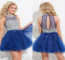 Crystal Sequins Sleeveless Prom dresses Blue homecoming dresses short stylish High Neck Shiny Crystal Cocktail Dresses TW04