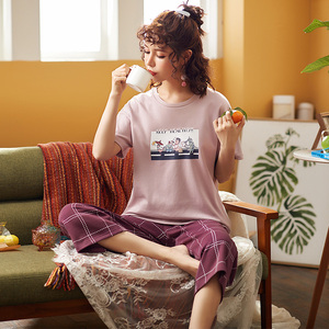 Image 2 - Pijamas femininos de algodão, pijamas tricotados para mulheres, manga curta, gola redonda, tamanho grande M XXL