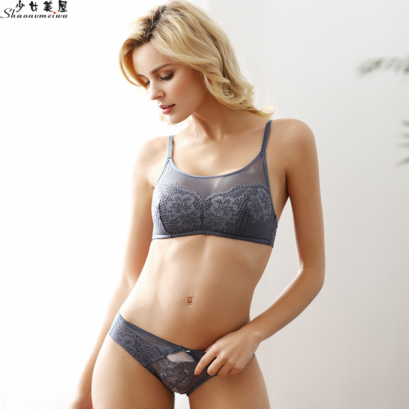 shaonvmeiwu Thin lace mesh   bra     set   sexy lingerie no steel ring breast wipe type   bra   anti-shine