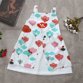 Newborn Baby Girl Dresses Summer Sleeveless Braces Dress Summer Floral Double Layer Dress Kids Dresses For Girls