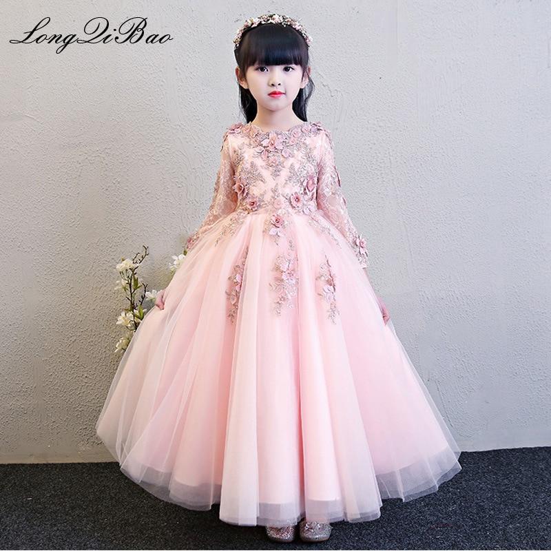2019 autumn and winter new catwalk evening dress long sleeved princess dress pink children s wedding