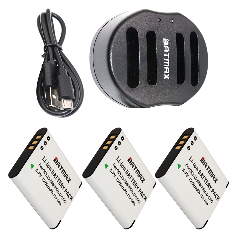 3-Pack Li-50B LI50B 50B Battery&Charger for OLYMPUS SP 810 800UZ u6010 u6020 u9010 SZ14 SZ16 D755 u1010 SZ30 SZ20 XZ-1