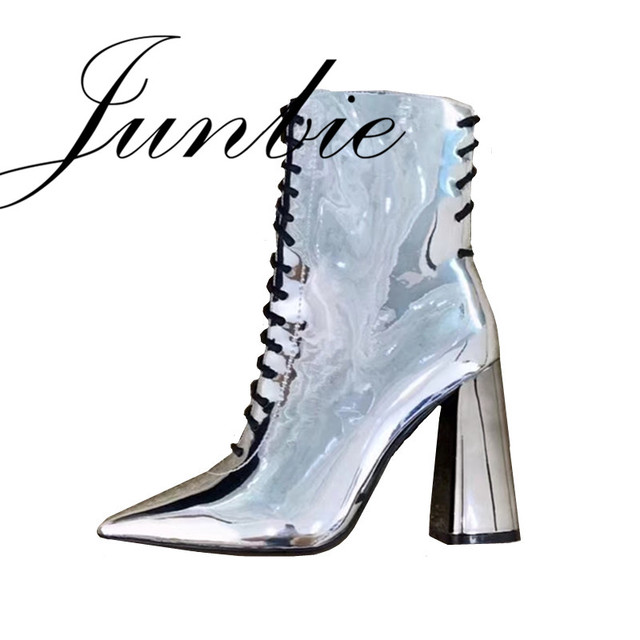 JUNBIE New Arrivals Gladiator Lace Up Mirror Women Boots Sexy Pointed Toe Chunky Heel Women Autumn Winter Ankle Boots Shoes