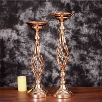 Gold Flower Vases Candle Holder Rack Stand Wedding Decoration Road Lead Table Centerpiece Pillar Party Event Candlestick